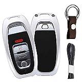 Silber Car Keyless Entry Key Cover Fall für Audi A3 A4 A5 A6 A7 Q3 Q5 Q7 3/4 Buttons, Flugzeug Aluminium Schutzhülle mit Schlüssel Kette
