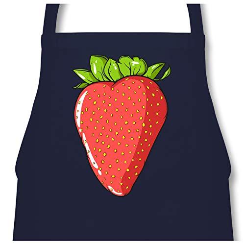 Shirtracer Küche - Erdbeere - 60 x 87 cm (B x H) - Navy Blau - PW102 - Kochschürze für Männer und Damen -