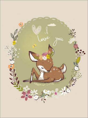 Posterlounge Holzbild 60 x 80 cm: Baby Rehkitz Liebe von Kidz Collection/Editors Choice