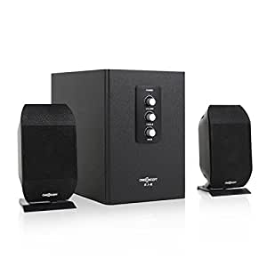 oneconcept enceintes stereo 2 1 syst me actif pour pc. Black Bedroom Furniture Sets. Home Design Ideas