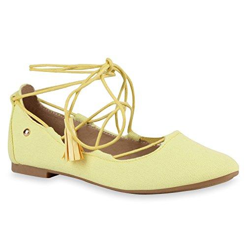 Damen RiemchenballerinasRiemchensandalen Sandalen Espadrilles Lack Schnürer Ballerinas Leder-Optik Schuhe 118516 Gelb Gold 39 Flandell
