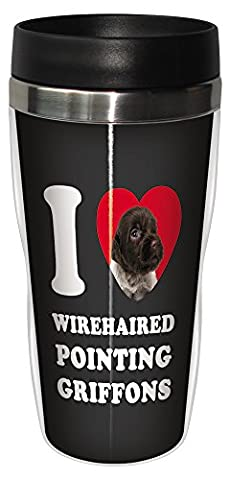 Tree-Free Greetings SG25143 I Heart Wirehaired Pointing Griffons Sip 'N Go Stainless Lined Travel Tumbler, 16-Ounce by Tree-Free Greetings