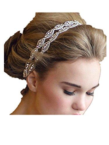 Summens Damen Doppel Streifen Diamant Brautstirnband Hochzeit Braut Haarband Diademe Brauthaarschmuck (Kostüme Diademe)