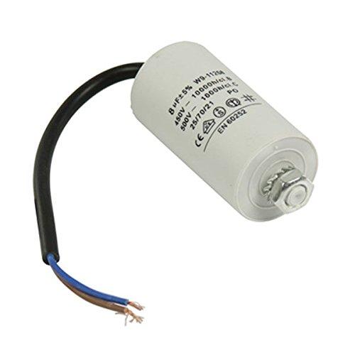 Kondensator Betriebskondensator Motorkondensator Anlaufkondensator Arbeitskondensator Steckeranschluss mit Kabel 450V + Kabel W9 von 2,0µF bis 50µF wählen Sie die benötigte Größe 2.0µF, 2.5µF, 3µF, 4µF, 6µF, 8µF, 10µF, 12µF, 16µF, 25µF, 30µF, 40µF, oder 50µF (8µF)