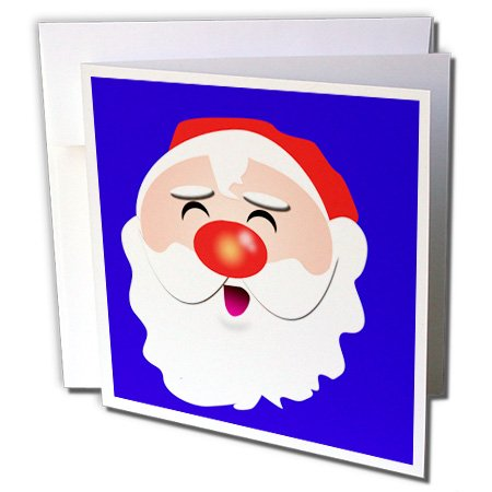 3dRose 8 x 8 x 0.25 Inches Cute Cartoon Santa Claus Kris Kringle for the Christmas spirit Greeting Cards, Set of 6