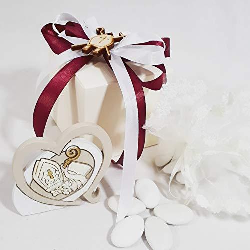 Sindy bomboniere cuore da appoggio con immagine religiosa cresima (kit per il confezionamento)