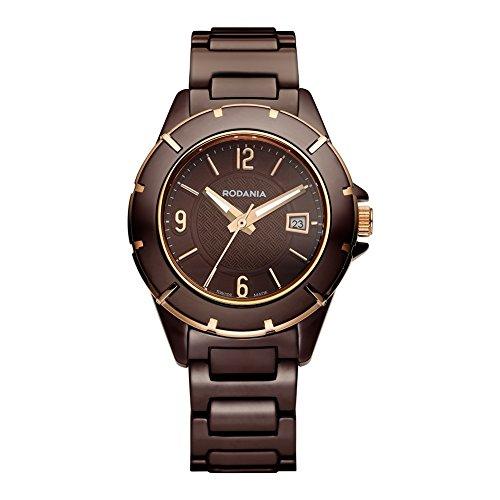Rodania Swiss RS2508545 - Reloj para mujeres, correa de cerámica color marrón