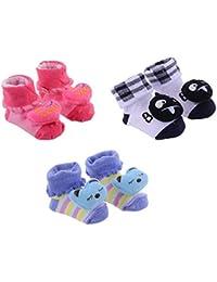 LITTLE PANDA New Born Baby Boys Girls Kids Cartoon Teddy Face Fancy Booties Socks for 0-6 Months