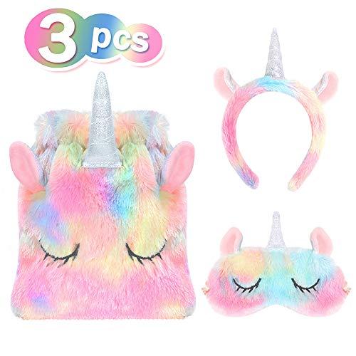VAMEI Favor de Fiesta del Unicornio, Bolsas de Regalo para Unicornio Máscara para Dormir Juego de Diadema para niñas Unicornio Cumpleaños Fiesta de Navidad Favor de Suministro