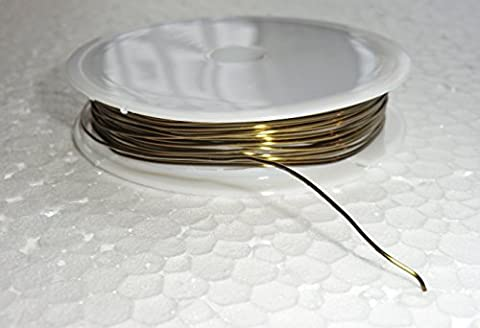 6 Metre Reel of 0.6mm Thick Antique Brass Finish Metal Wire for Chandelier Prisms Alternative Links For Making Chains of Garlands Glass Crystals Drops Prisms Droplets Beads Lamp Parts Components Lighting Restoration or Crafts Beading Seear