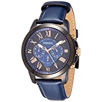 Fossil Grant Chronograph Bicolor Dial Blue Leather Watch for  Men  - FS5061P