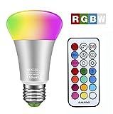 Minger 10W Ampoules LED RGBW (Rouge Vert Bleu et Blanc) Changement de Couleur Dimmable LED Bulbs E27 Magique Lampes d'ambiance avec Télécommande Sans Fil