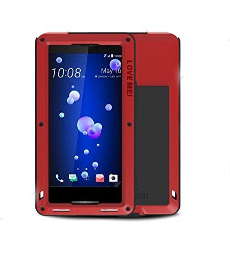 HTC U11 Hülle Case, Eastcoo wasserdicht stoßfest Alloy Aluminum Metal Bumper Gorilla Glass Soft silikon Military Schwer Metall Militär Starkes stoßfestes hartes Hülle Tasche Cover für HTC U11(Red) Bluetooth Metal Cover