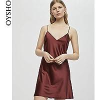 WXNLEAI Oysho rojo satinado cómodo versión corta con cuello en V honda pijama camisón falda 30282368701