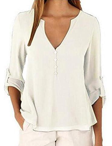 Shinekoo® Femme Sexy Col V T-shirt à Manches Longues en Mousseline de Soie Tops