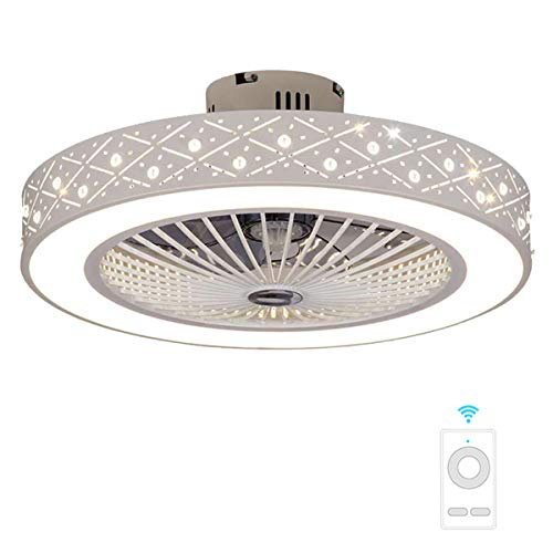 Fan ceiling light Lxn Invisibilità Soffitto Ventilatore Luce con Telecomando Moderno LED Lampadario Interna Soggiorno Creativo Soffitto Minimalista Droplight,Bianco - Diametro 56cm