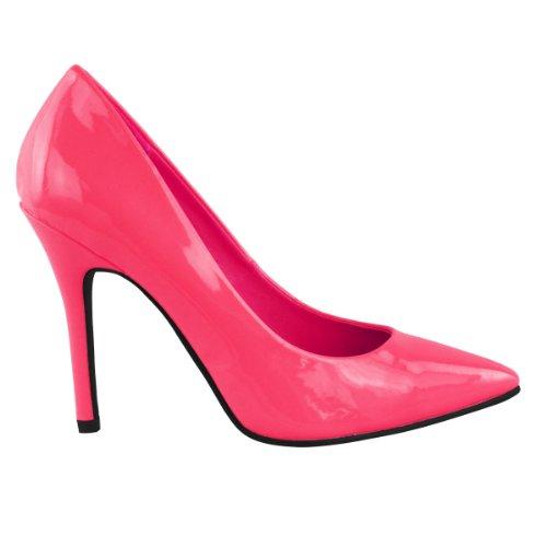 Leggera Scarpa Donne Aguzza Punta Tallone Rosa Formato Fluorescente Neon 5azqwUz