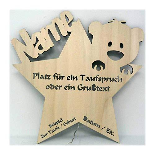 Nachtlicht Baby-Lampe Teddy Stern Baby-Geschenke zur Taufe mit Namen Tauf-spruch Gravur personalisiert Geburt-sgeschenke Taufgeschenke für Junge-n Mädchen Paten-Kind Mutter Zimmer ()