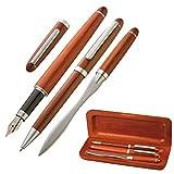 Elegante Set scrittura in legno con penna sfera penna stilografica e tagliacarte in astuccio