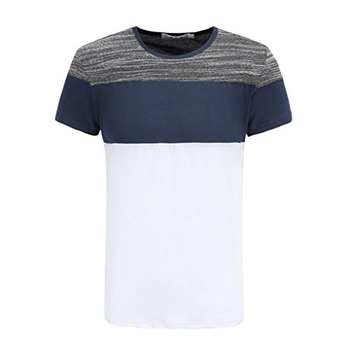 KPILP Herren Casual Shirt Striped T-Shirt Tops(White,X-Large) (Cable Knit Tank)
