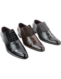Galax Chaussures homme simili cuir PU noir gris marron design italien  détail en daim PU avec e40e9e1440d9