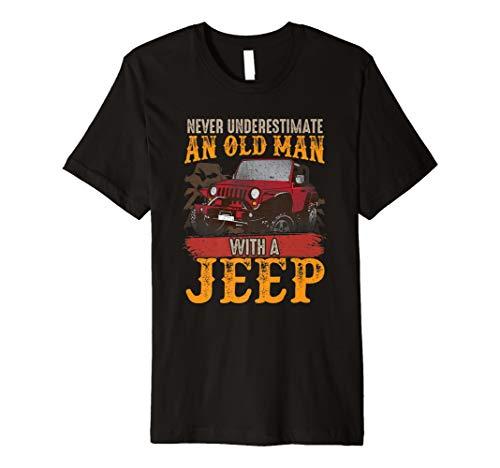 Ostern Fitted T-shirt (Herren Herren Herren Never Underestimate ein Alter Mann mit einem Jeep T Shirt)