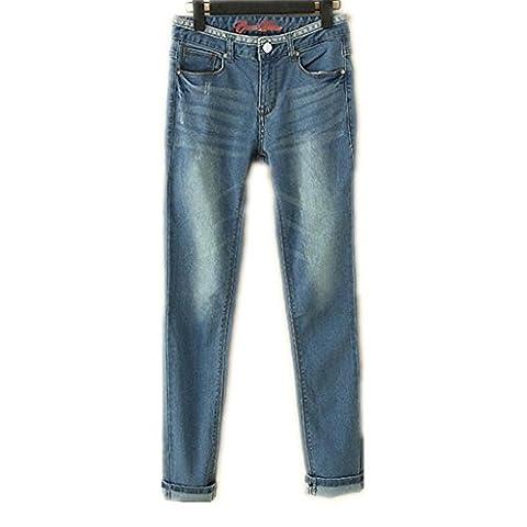 Wgwioo Bleu Denim Stretch Bien Roulée Base Bootcut Jeans Femmes Détruire Skinny Déchiré En Détresse Pantalon Pocket Slim Classique . Light Blue .