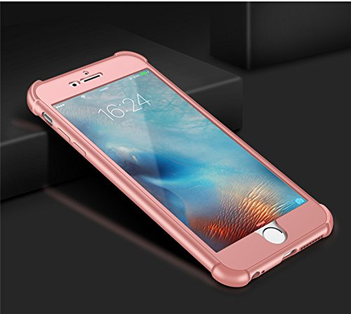 Coque iPhone 7 Plus Case Qissy® 2 IN 1 Ultra Léger 360 Full Body Shockproof Silicone TPU Non-Slip Skin Back Cover Case for IPHONE 6/6SPlus Rose or