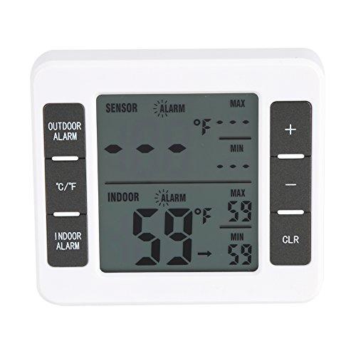 Digital Kühlschrank Thermometer, drahtloser digitaler Gefrierschrank Thermometer Innen/Außentemperatur Sensor mit hörbarem Alarm