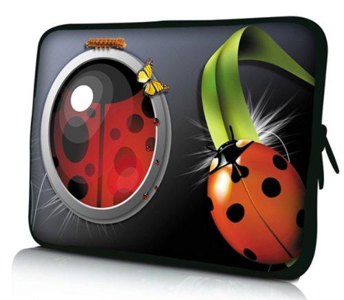 Luxburg® Design Laptoptasche Notebooktasche Sleeve für 15,6 Zoll (auch in 10,2 Zoll | 12,1 Zoll | 13,3 Zoll | 14,2 Zoll | 15,6 Zoll | 17,3 Zoll) , Motiv: Marienkäfer, Raupe und Schmetterling