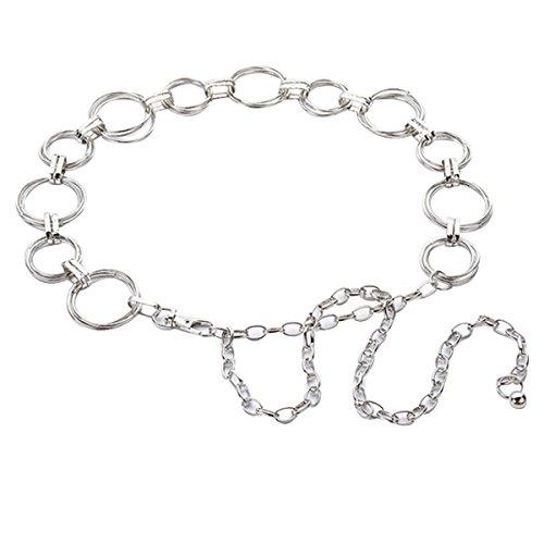 AiSi Damen Fashion Metall Gürtel Kettengürtel Taillengürtel Hüftgurt,Ideal für Kleid, elegantes Design silber