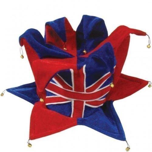 Great British Street Party Großbritannien Union Jack Kostüm Erwachsene Filz Jesters ()