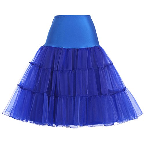 (50s Retro Vintage Swing Unterrock Blau Petticoat Fancy Rock Rockabilly M,C1,Blau)