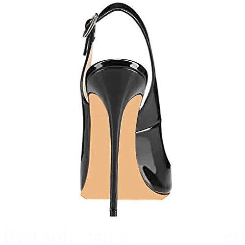 Trusify Donna 12cm EU 34-46 Trucost tacco a spillo 12CM Synthetic Sandali Nero