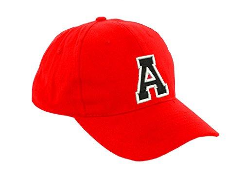 Unisex Jungen Mädchen Mütze Baseball Cap ROT Hut Kinder Kappe Alphabet A-Z Morefaz TM (A) -