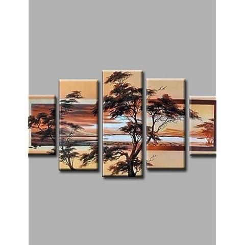 OFLADYH ® listo para colgar estiradas enmarcadas árboles aceite de pintura de la lona de la pared del bosque de arte pintadas a mano