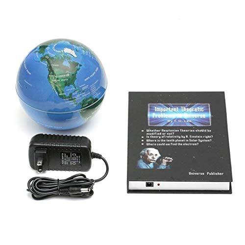 Vige Innovative 3-Zoll-Buch-Magnetschwebebahn, die Anti-Schwerkraft-Kugel-Weltkarte-magnetische drehende Kugel-Verfärbung - Blau schwimmt (Magnetische Kugeln Blau)