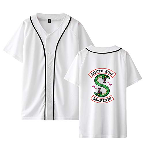 Riverdale Baseball T-Shirt für Damen Herren Kinder Riverdale Southside Serpents Pullover Hip Hop Sommer Oberteile Teenager Bauchfrei Bluse V-Ausschnitt Pulli Swag Sweatshirt Kurze Ärmel Drucken - Archie Andrews Kostüm