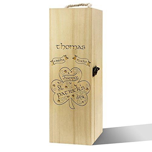 TWISTED ENVY personalisierbar ST PATRICK 'S DAY Irish Luck Luxus Holz Wein Box Fach-speicher-kasten