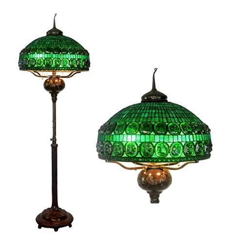 Tiffany Stehlampe Kupfer (Tiffany-Stil Stehlampe (74 Zoll Hoch Glasmalerei Schatten Stehlampen) 6 Licht Voll Kupfer Basis Für Schlafzimmer Wohnzimmer Lesen Beleuchtung Tisch Set (Pull Chain) (Farbe : TU181))