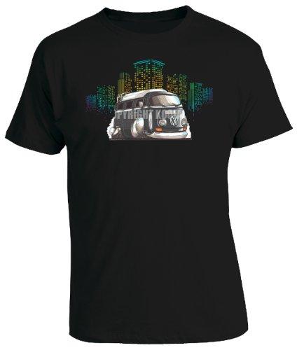 KOOLART-Cartoon-Caricature-Style-of-VW-Camper-Van-Black-Mens-T-Shirt