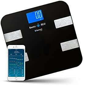 Beets BLU Bluetooth Weight Scale with Body Composition. Bathroom digital scale works with Apple iPhone, iPad and Android