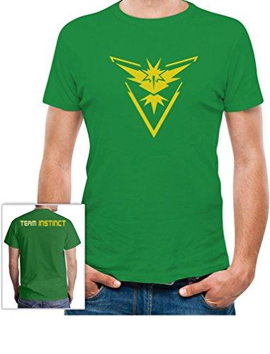 Go Team Gelb Team Yellow Valor - Vorne und Hinten Bedruckt T-Shirt Grün