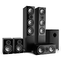 """Numan Reference 851 Système HiFi Audiophile Ensemble d'enceintes 5.1 (2 Enceintes Colonne, 2 Enceintes bibliothèque, subwoofer DE 16,5cm DE 6.5"""") - Noir"""