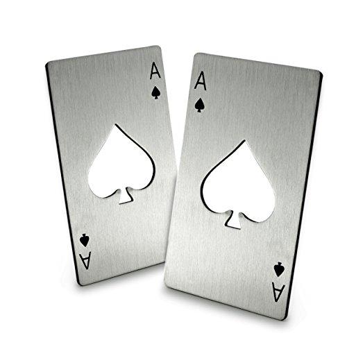2er Set Flaschenöffner im Pokerkarten Design aus hochwertiger Edelstahl, Kartenwert 'Pik AS', Poker, Marke Ganzoo