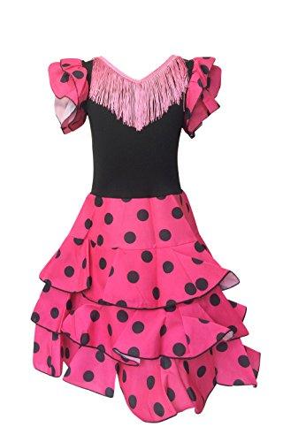 Spanische Tänzerin Flamenco Senorita Kostüm - La Senorita Spanische Flamenco Kleid Niño Deluxe / Kostüm - für Mädchen / Kinder - Rosa / Schwarz (Größe 104-110 - Länge 75 cm- 5-6 Jahr)