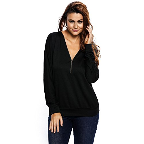 PU&PU Frauen Lose Manches longues Sweatshirt V-Ausschnitt Reißverschluss Bluse Tops BLACK-M