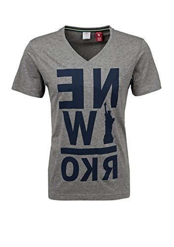 s.Oliver Herren T-Shirt 13.502.32.2063, mit Print Grau (medium grey melange 9222)