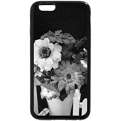 6S iPhone, iPhone 6 (nero) & bianco-Recinzione con decorazione floreale, confezione da 4, colore: bianco