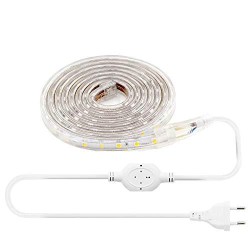 cooligg 230V kaltweiß LED Streifen 5050 180 LEDs, 7W/M IP67 wasserdicht, inkl. Netzstecker & Befestigungsclips (3M helles weißes Licht) Einfacher Stecker und Licht